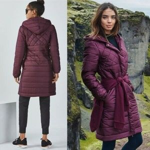Fabletics XL purple down parka puffer coat